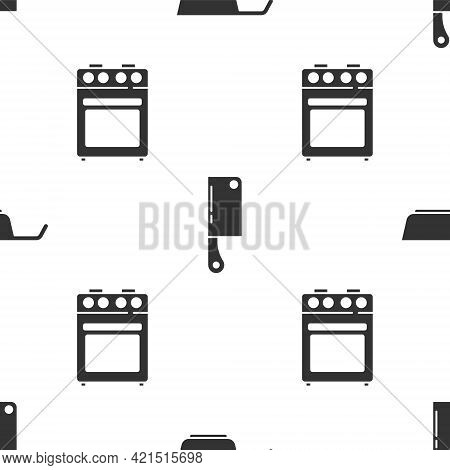 Set Frying Pan, Meat Chopper And Oven On Seamless Pattern. Vector