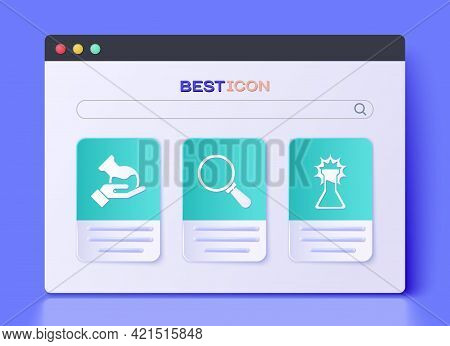 Set Magnifying Glass, Test Tube And Flask And Test Tube And Flask Icon. Vector