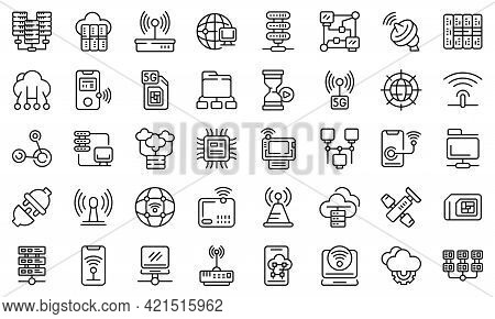 Internet Provider Icons Set. Outline Set Of Internet Provider Vector Icons For Web Design Isolated O