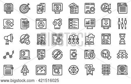 Search Engine Optimization Icons Set. Outline Set Of Search Engine Optimization Vector Icons For Web