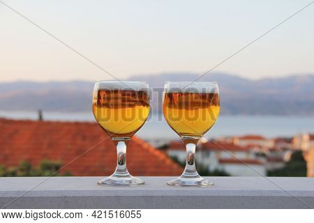 Two Glasses Of Beer Summer Evening Vacation Relax Concept