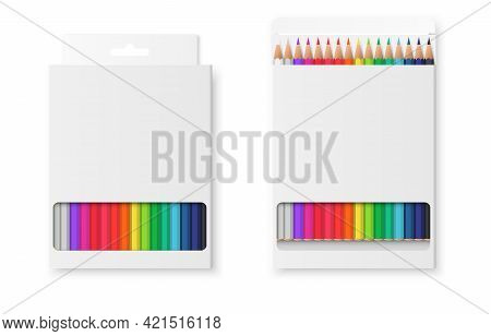 Realistic Set Of Boxes With Colored Pencils. Open And Closed Box. Wooden Colorful Crayons In Blank W