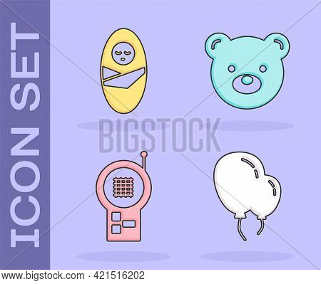 Set Balloons With Ribbon, Newborn Baby Infant Swaddled, Baby Monitor Walkie Talkie And Teddy Bear Pl