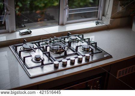 Close Up Shot Of Gas Burner Inside Home