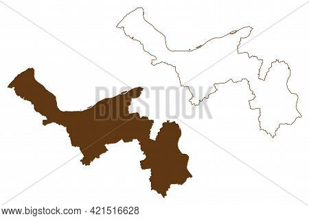 Mainz-bingen District (federal Republic Of Germany, State Of Rhineland-palatinate) Map Vector Illust