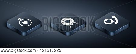 Set Isometric Heart In The Center Stopwatch, Telephone With Heart Speech Bubble And Heart In The Cen