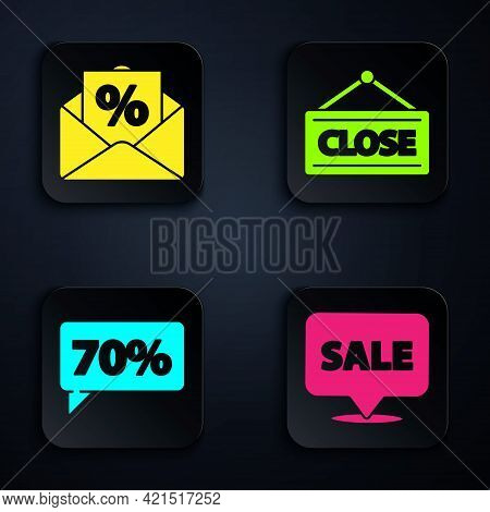 Set Hanging Sign With Sale, Envelope With An Interest Discount, Seventy Discount Percent Tag And Han