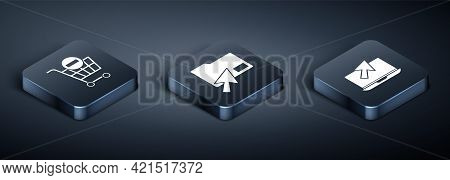 Set Isometric Remove Shopping Cart, Laptop And Cursor And Cursor Click Document Folder Icon. Vector