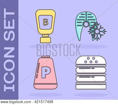Set Burger, Sauce Bottle, Pepper And Fresh Frozen Fish Steak Icon. Vector