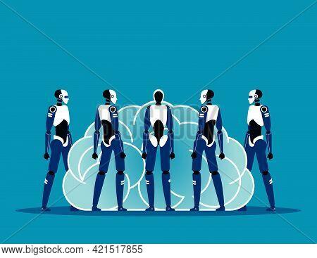 Robots Surround The Human Brain. Artificial Intelligence