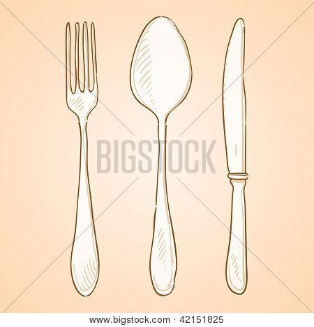 Rough Cutlery Illustration