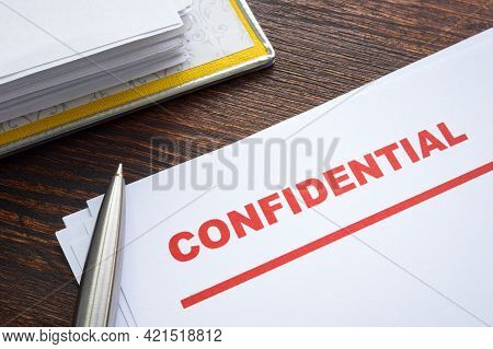 Documents With Mark Confidential For Privacy And Confidentiality Of Data.