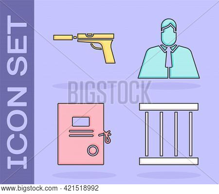 Set Prison Window, Pistol Or Gun With Silencer, Lawsuit Paper And Lawyer, Attorney, Jurist Icon. Vec