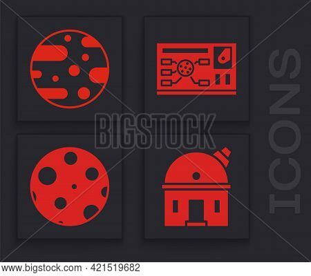 Set Astronomical Observatory, Planet Mars, Futuristic Hud Interface And Moon Icon. Vector