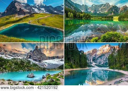 Collage Of Famous And Beautiful Mountain Lakes In The Alps. Fallbodensee Lake, Switzerland, Fusine L
