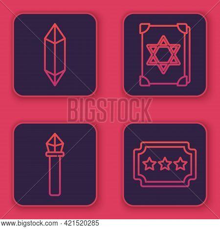 Set Line Magic Stone, Magic Staff, Ancient Magic Book And Ticket. Blue Square Button. Vector
