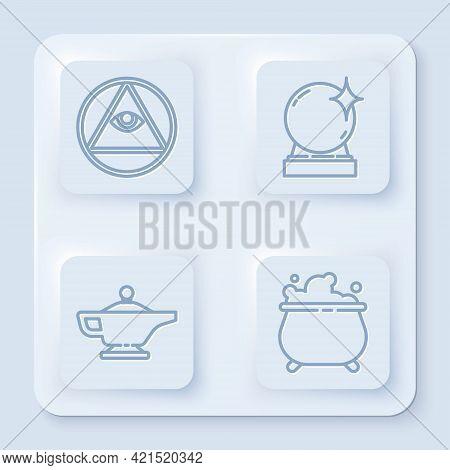 Set Line Masons, Magic Ball, Magic Lamp Or Aladdin And Witch Cauldron. White Square Button. Vector