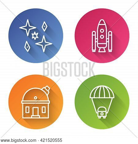 Set Line Planet, Space Shuttle And Rockets, Astronomical Observatory And Planet Saturn. Color Circle