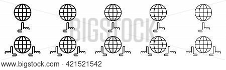 Globe Icons Set. Web Globe Flat Linear Icon. Silhouette Of The Globe With Meridians And Hand. Vector