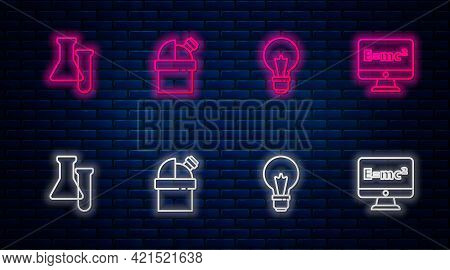 Set Line Astronomical Observatory, Light Bulb With Concept Of Idea, Test Tube And Flask And Equation