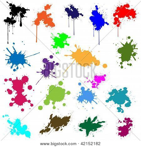 Illustration set of different colors of ink. poster