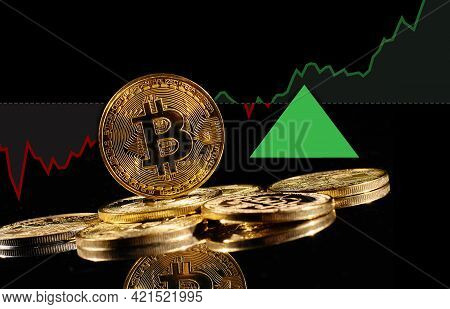 Golden Coins With Bitcoin Logo Rise In Bull Market. Leader Cryptocurrency Bitcoin Btc Go Up In Tradi