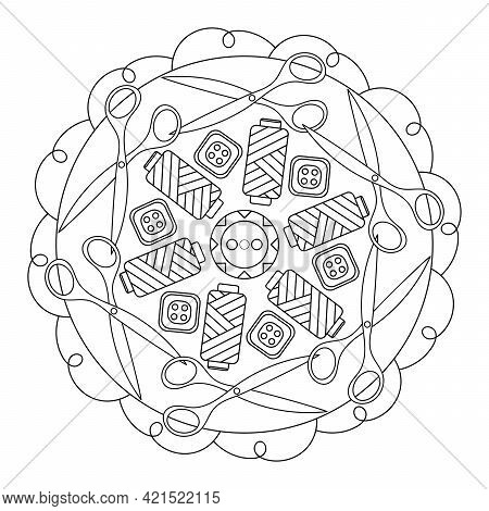 Coloring Book For Adults And Children. Mandala. The Concept Of Needlework And Handwork. Buttons For