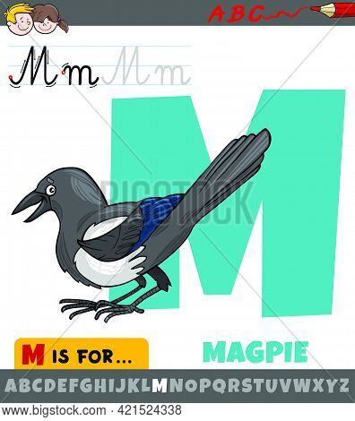 Educational Cartoon Illustration Of Letter M From Alphabet With Magpie Bird Animal Character