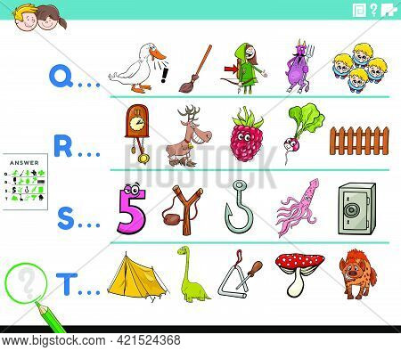 Cartoon Illustration Of Finding Pictures Starting With Referred Letter Educational Task Worksheet Fo