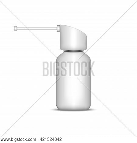 Oral Aerosol Spray 3d Mockup Realistic Vector Illustration Isolated On White, Medical Plastic Contai