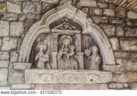 Bas-relief Of The Virgin Mary At The Entrance To The Old Town Of Kotor. Historical Detail Religious