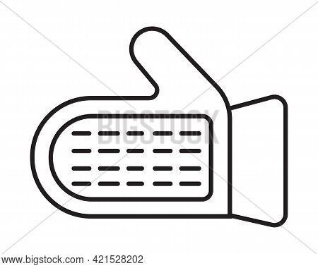 Massage Glove Icon Vector In Line Style. Fabric Glove To Massage The Skin