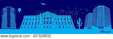 Vector City Skyline Silhouette - Illustration,  Town In Blue Background,  Phoenix Arizona