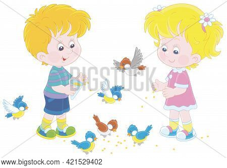 Happy Little Children Feeding With Corn A Small Flock Of Merry Sparrows And Titmice, Vector Cartoon