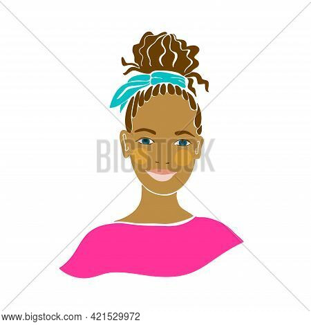 American Teens Black Person Girl. Beautiful Women Face Vector Illustration. Isolated Flat Vector. Ch