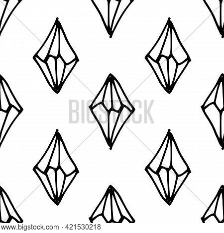 Doodle Crystal Set, Great Design For Any Purposes. Esoteric Vector. Line Art.vector Seamless Pattern