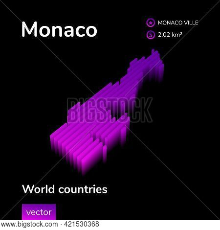 Stylized Neon Digital Isometric Striped Vector Monaco Map With 3d Effect. Map Of Monaco Is In Violet