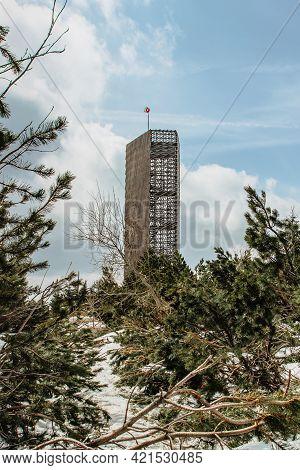 Velka Destna Lookout Tower In Shape Of An Irregular Pentagon, Orlicke Mountains,czech Republic.enjoy