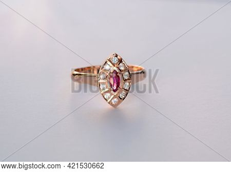 Handmade Rose 585 Gold Womens Ring With Natural Gemstones. Marquis Shaped Red Untreated, Unheated Ru