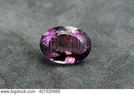 Natural Bolivian Amethyst Gemstone. Oval Faceted, Huge Size Violet Or Purple Color Loose Crystal Sto