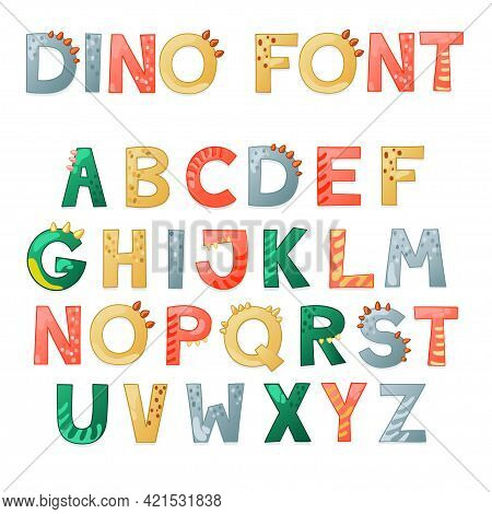 Cartoon Cute Dino Alphabet. Dinosaur Font With Letters . Children Vector Illustration For T-shirts,