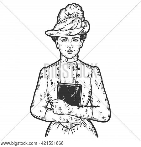 Nineteenth Century Fashion. Woman Holding Book To Chest. Sketch Scratch Board Imitation Color.