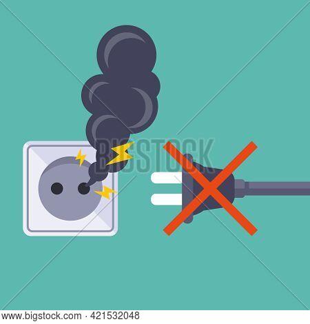 Do Not Plug Electrical Appliances Into A Broken Socket. Flat Vector Illustration.
