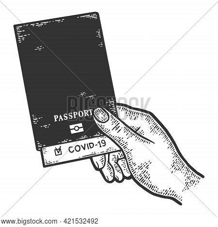 Covid Passport. Hand Holds An International Passport. Sketch Scratch Board Imitation Color.