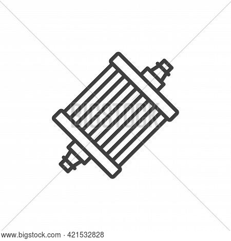 Gasoline Filter Icon. A Simple Linear Image Of A Fuel Filter. Fuel Inlet On One Side, Outlet On The