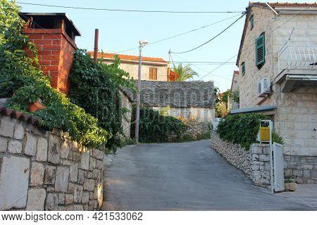 Street In The Town Supetar On Brac Island In Croatia