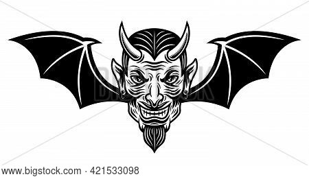 Devil Head With Bat Wings Vector Illustration In Monochrome Tattoo Style Isolated On White Backgroun