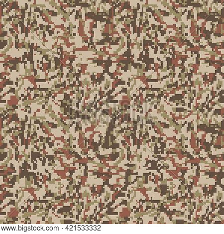 Vector Digital Camouflage Seamless Pattern. Green Color Tactical Camo, Background In Military Style.