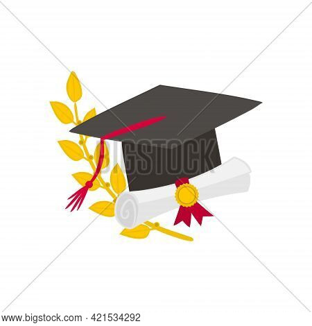 Graduation Logo With Master Cap, Scroll And Laurel Branch. Hand-drawn Emblem Isolated On White Backg