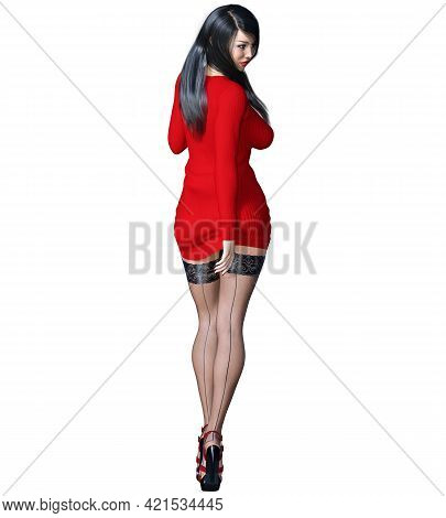 Beautiful Woman Female Legs Short Red Skirt Stockings.outerwear Spring Autumn Clothing.provocative L